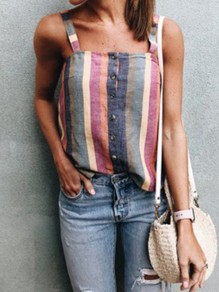 Red Striped Single Breasted Shoulder-Strap Backless Square Neck Going out Casual Vest