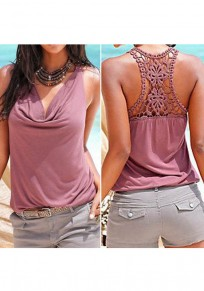 Purple Red Patchwork Lace Ruffle Cut Out V-neck Fashion Vest
