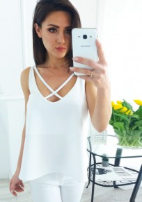 White Cut Out Backless V-neck Casual Vest