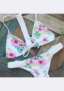 Traje de baño pajarita de estampado floral de dos piezas v-cuello dulce blanco