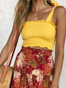 Yellow Shoulder-Strap Cascading Ruffle U-neck Casual Vest