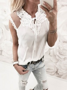 White Patchwork Grenadine Lace Drawstring Fashion Vest