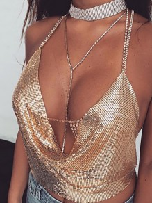 Golden Plain Sparkly Sequin Draped Halter Neck Chain Midriff Backless Club Fashion Vest