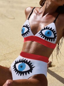 White Devil's Eye Halter Neck Backless Two Piece Beach Swimwear Bikini