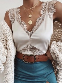 White Patchwork Lace Spaghetti Strap Deep V-neck Fashion Vest