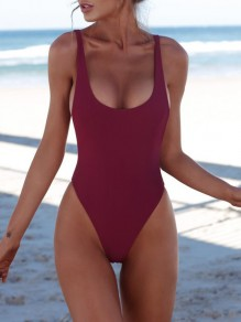Red Solid Shoulder-Strap Backless U-neck Beach Ladies One-Piece Swimwear