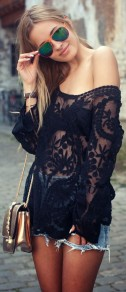 Black Patchwork Embroidery Hollow-out Grenadine T-Shirt