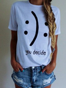 White Letter Smile Print Round Neck Short Sleeve Cotton Loose T-Shirt