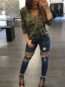 Army Green Camouflage Print Lace-Up V-neck Long Sleeve Casual Camo T-Shirt