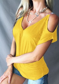 Yellow Cut?Out Deep V-Neck Short Sleeve Spaghetti Strap Casual T-Shirt