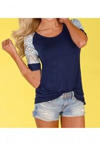 Blaues Patchwork-Spitze-rundes Ansatz-Kurzschluss-Hülsen-Art- und Weiset-shirt