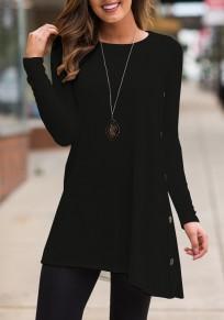 Schwarz Knöpfen Drapiert Unregelmäßig Rundhals Langarm Beiläufige T-Shirt Damen Oberteile