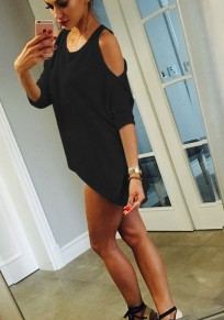 Black Irregular Cut Out Round Neck Casual Polyester T-Shirt