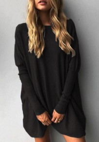 Black Irregular Round Neck Long Sleeve Casual T-Shirt