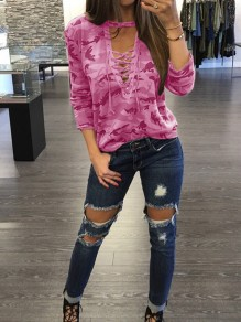 Pink Camouflage Print Drawstring V-neck Long Sleeve Casual T-Shirt