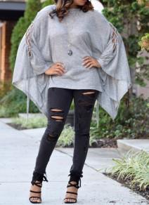 Grau Cut Out Schnürung Fledermaus Ärmel Oversize T-Shirt Damen Tops Oberteile Cape