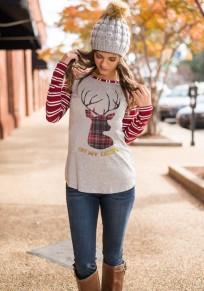 Camisetas estampado wapiti el el el el monograma rayas navidad manga larga cuello redondo rojo-blanco
