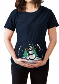 Black Crystal Ball Print Maternity Christmas Short Sleeve Round Neck Tops T-Shirt