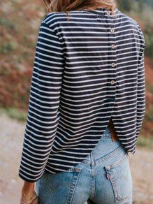 Black Striped Cut Out Single Breasted Long Sleeve T-Shirt