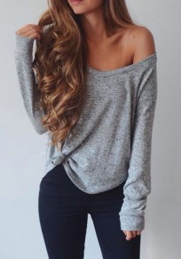 Grey Asymmetric Shoulder Knot One Off Shoulder Casual T-Shirt