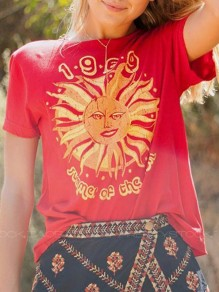 Red Sun 1969 Print Round Neck Short Sleeve Casual Cute T-Shirt