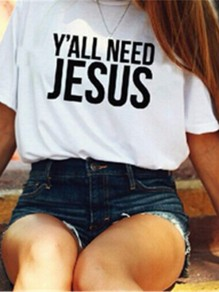 """Maglietta """"you need jesus"""" stampa easter casuale white"""