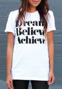 """White """"Dream Believe Achieve"""" Print Casual Going out T-Shirt"""