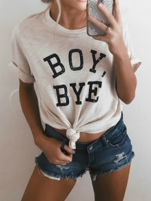 "White Letter ""BOY,BYE"" Print Round Neck Short Sleeve Casual T-Shirt"