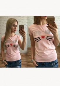 Maglietta stampa girocollo manica corta casuale rosa