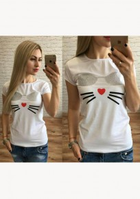 White Patchwork Print Round Neck Short Sleeve Casual T-Shirt