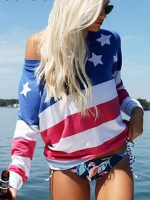 Red Patchwork American Flag Print One Shoulder Long Sleeve Casual T-Shirt