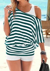 T-shirt rayé épaule tombante mode décontracté femme mariniere top vert et blanc