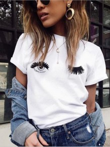 White Figure Eyes Lashes Print Short Sleeve Round Neck Casual T-Shirt