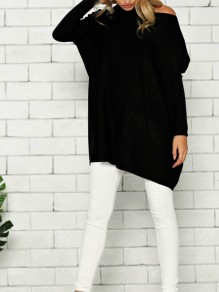 Black Round Neck Pullover Casual Knit T-Shirt
