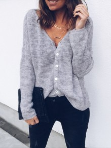 Grey Single Breasted V-neck Long Sleeve Casual T-Shirt