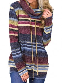 Red Striped Colorful Cowl Neck Drawstring Long Sleeve Fashion T-Shirt