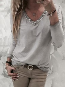 Tee-shirt perles col V manches longues mode gris