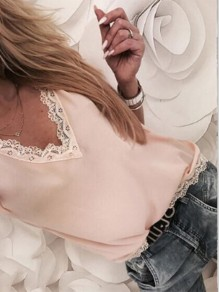 Pink Patchwork Lace V-neck Short Sleeve Going out T-Shirt