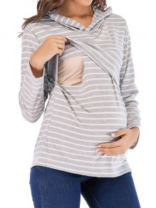 Grey Striped Print Hooded Long Sleeve Maternity T-Shirt