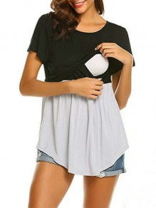 Black Patchwork Cut Out Short Sleeve Oversized Maternity Nursing T-Shirt