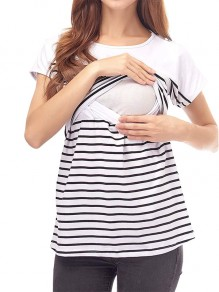 White Striped Cut Out Short Sleeve Oversized Maternity Nursing T-Shirt