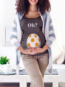 Grey Oh Monogram Egg Print Round Neck Short Sleeve Maternity T-Shirt