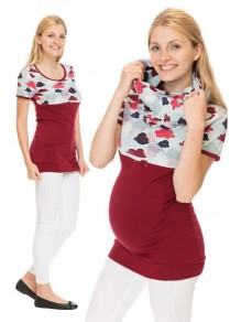 Red Floral Print Irregular Short Sleeve Oversized Maternity T-Shirt