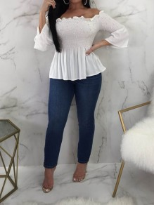 White Pearl Ruffle Off Shoulder Flare Sleeve Sweet T-Shirt