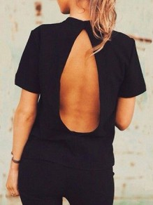 Black Buttons Backless Band Collar Short Sleeve Fashion T-Shirt