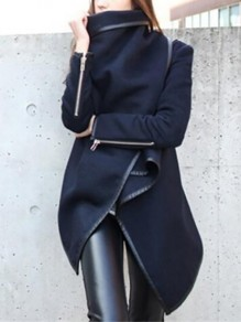 Dark Blue Plain Irregular Asymmetric Zipper Turndown Collar Long Sleeve Fashion Wool Coat