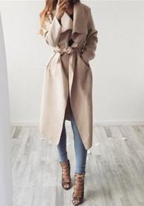 Khaki Taschen Mit Bindegürtel Umlegekragen Langarm Mantel Trenchcoat Wasserfall Cardigan Damen Mode