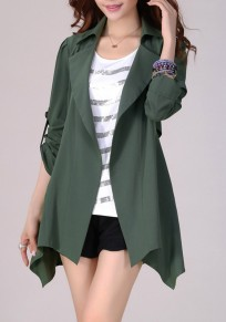 Green Plain Studded Turndown Collar Fashion Coat