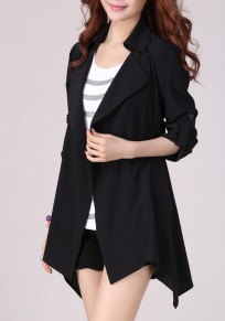Black Plain Studded Turndown Collar Fashion Coat