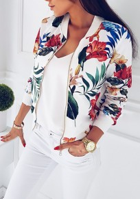White Floral Print Round Neck Zipper Casual Cotton Coat